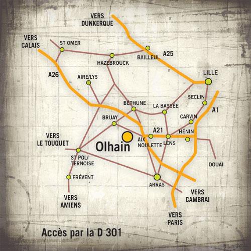 Plan d'accès - Base d'Olhain à 10 minutes de Béthune - Parcours aventures | Passion d'aventure
