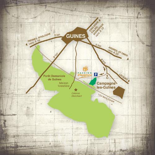 Plans d'accès parcours aventure de Guînes | Passion d'Aventure